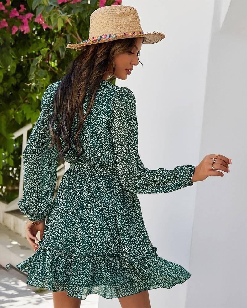 Ladies Vintage Mini Chiffon Dress Women Casual Long Sleeve Ruffles High Waist Bohemian Spring Summer Women Dress Vestidos Female