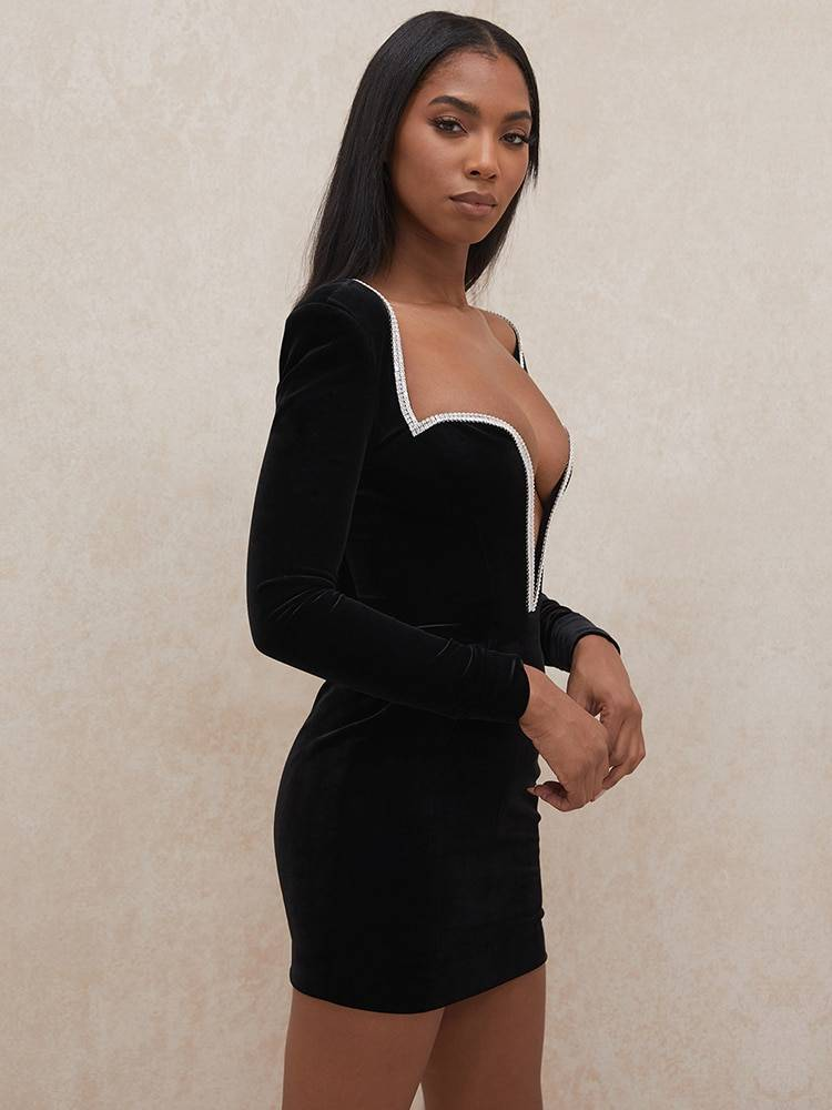JillPeri Long Sleeve Sexy Deep V Neck Wired Diamante Crystal Padded Shoulder Bodycon Outfits Women Winter Velvet Party Dress