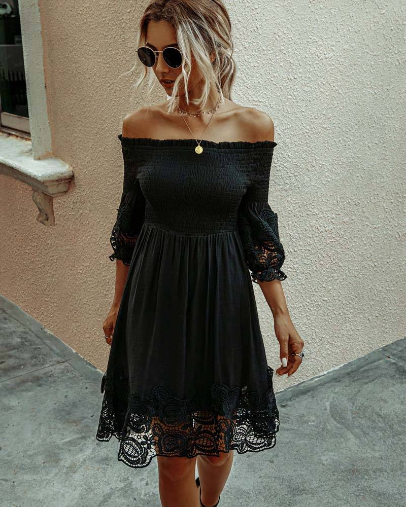 2021 White Black Lace Dress Women Summer A Line Party Dresses Ladies Sundresses Off Shoulder Midi Backless Sexy Robe Femme