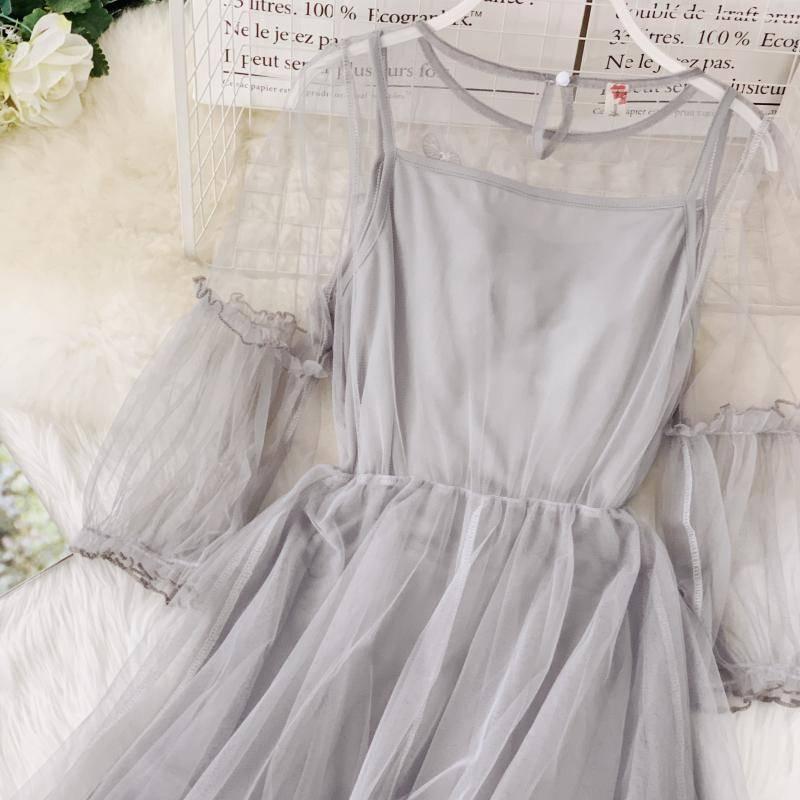 spring new women O-neck lantern sleeve gauze fairy puff dress female flower appliques elegant mesh princess dresses
