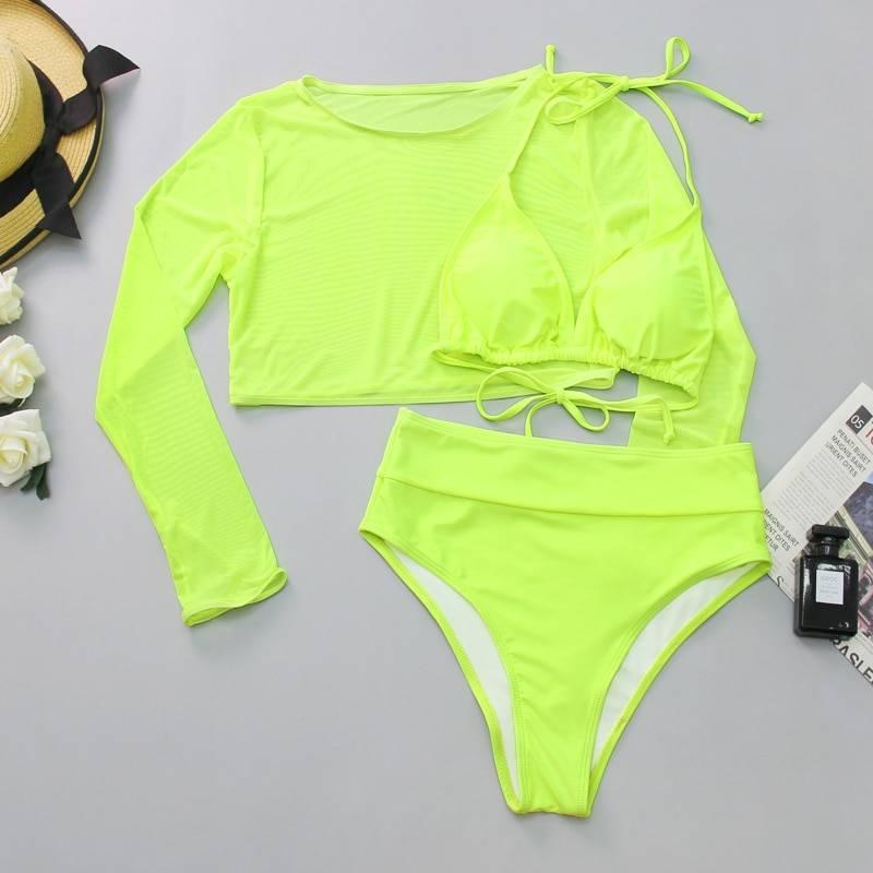 2020 Neon Yellow Crop Top Swimwear Women Summer Sexy Beachwear Mesh Long Sleeve Cover Ups Top Three Piece Swimsuit Bikini Set