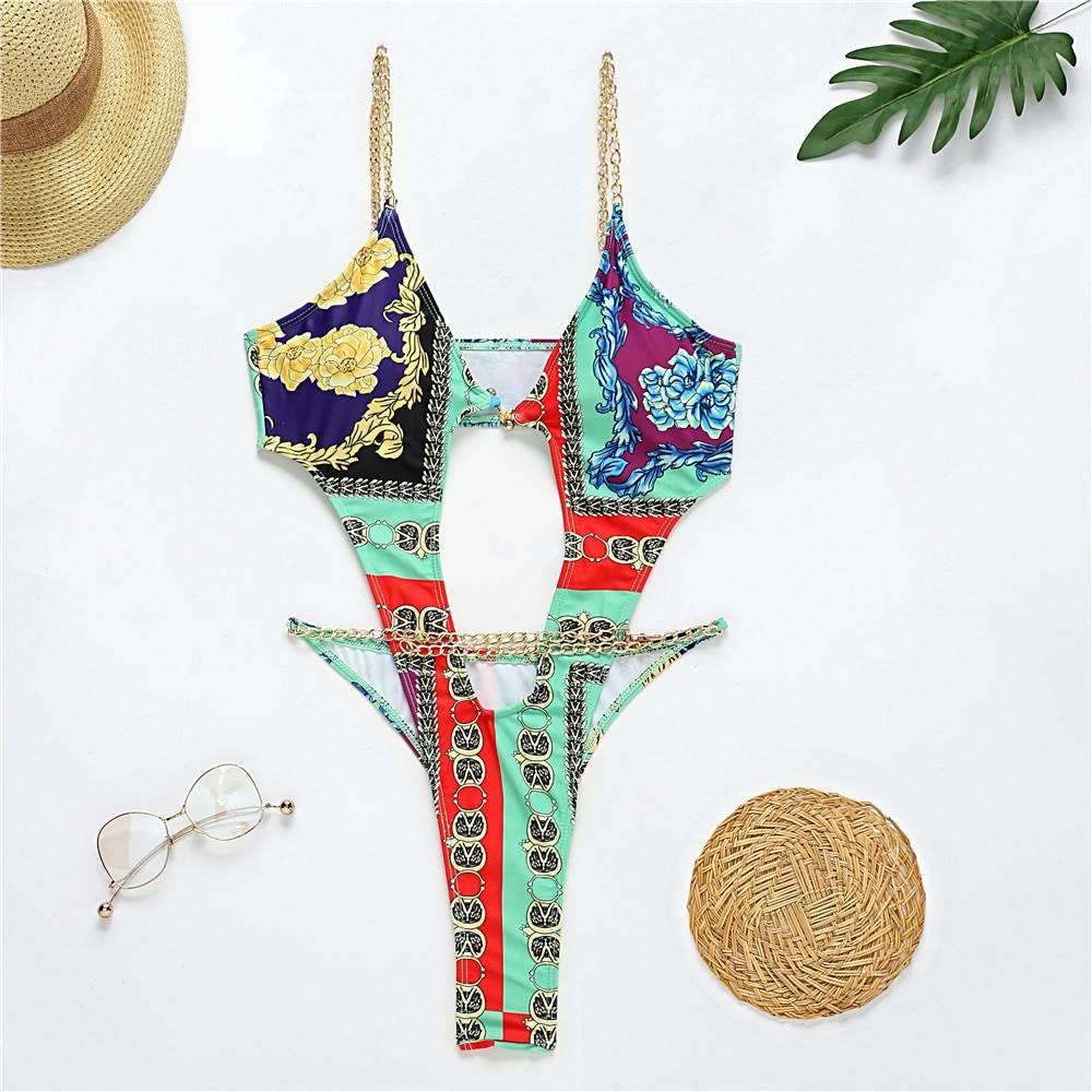 Brazilian One Piece Swimsuit String Monokini 2020 Sexy Neon High Cut Bikini Bandeau Swimwear Ring Chain Bodysuits Swimming Suit