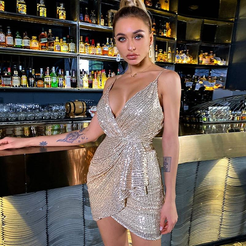 SRUBY Spaghetti straps Pink dress Woman Sequined Backless Sexy Dress Off Shoulder Mini Dress Christmas Party Club V neck Dresses