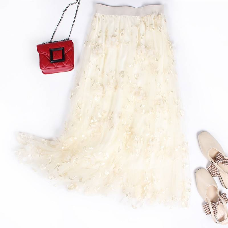 Luxury Woman Skirts 2020 Korean style Fashion Elastic Waist Appliques Embroidery Floral Mesh Skirt Long Gauze Ball Gown Skirt