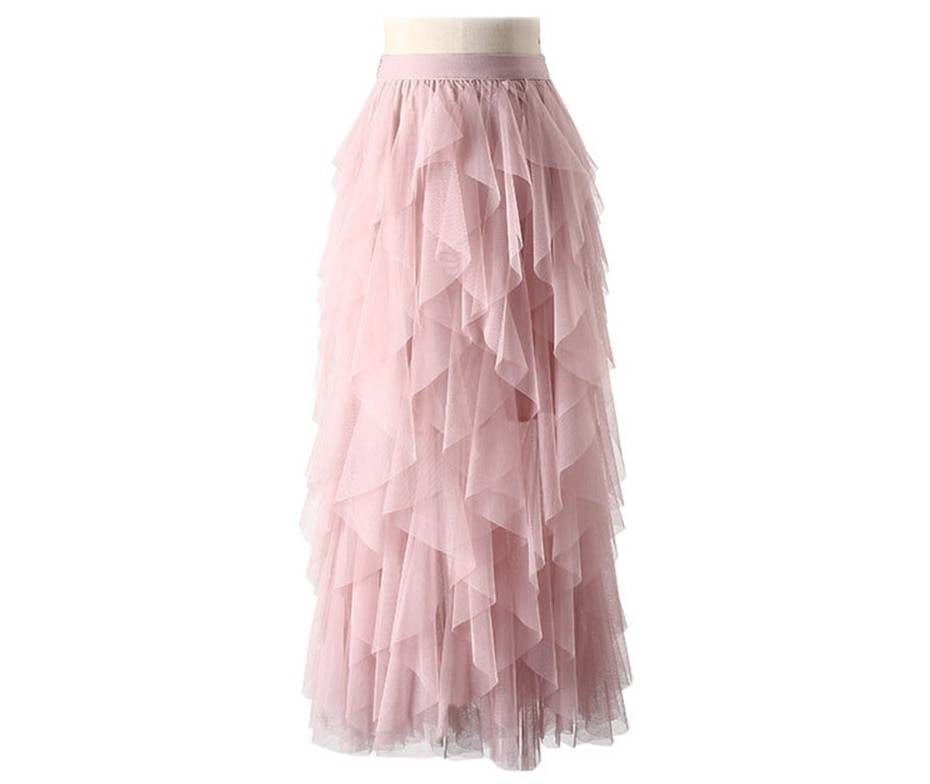 TIGENA Tutu Tulle Long Maxi Skirt Women Fashion 2021 Korean Cute Pink High Waist Pleated Skirt Mesh Female Lady Aesthetic Faldas