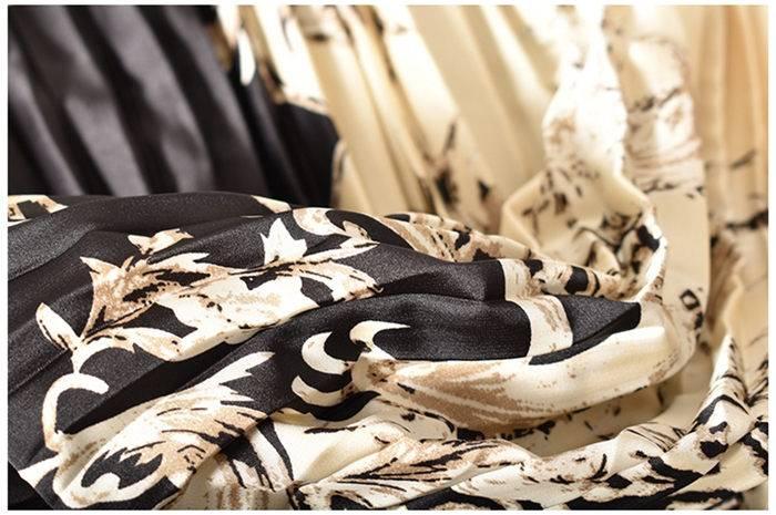 Vintage Long Dress Popular Full Sleeve 2021 Spring Fall New Loose A-Line Printed Leopard Pleated Women Dress Elegant Robe y1470