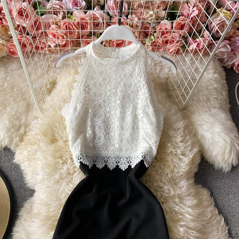 Sexy Halter Lace Patchwork Bodycon Party Dress Women Vintage Sleeveless Off Shoulder Elegant Vestidos Female 2020 New Fashion