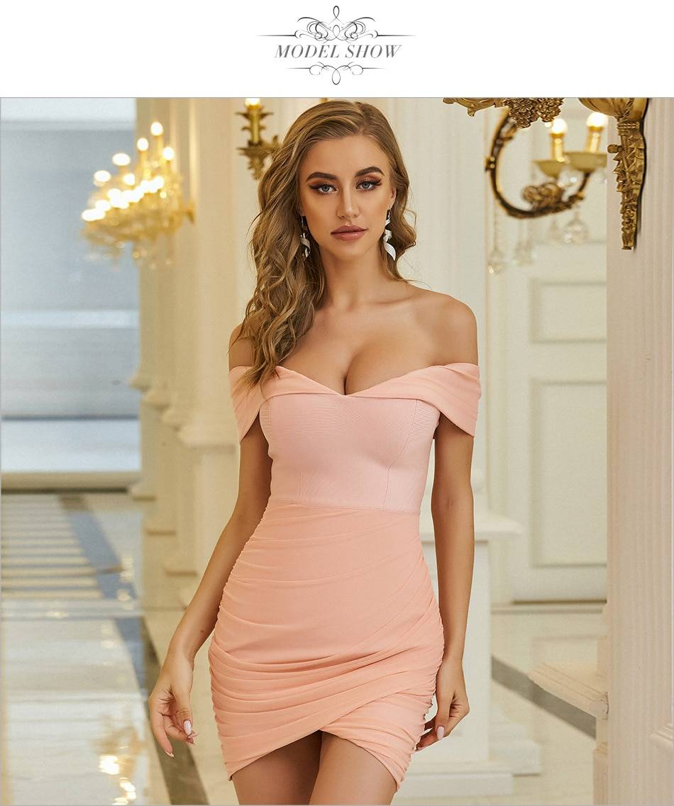 Adyce 2021 New Summer Women Off Shoulder Bodycon Bandage Dress Sexy Strapless Pink Mini Club Evening Runway Party Dress Vestidos