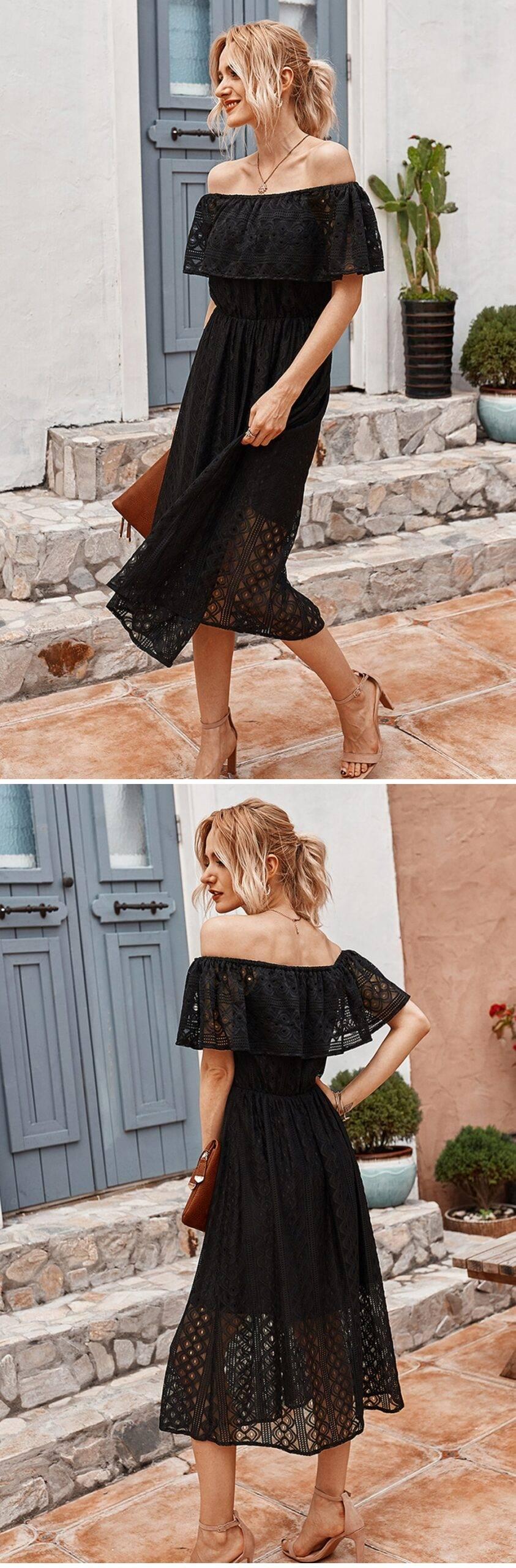 Dress Party 2021 Women Elegant Long Dress Slash Neck Hollow Midi Party Dress Lady Summer Bodycon Black Dress Backless Clothes