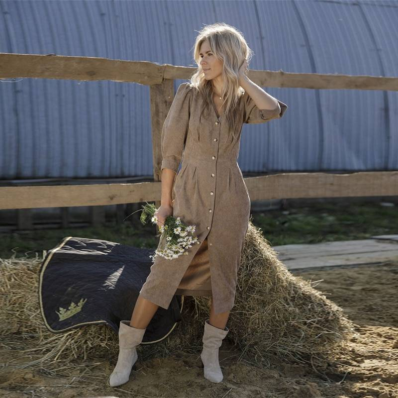 Moarcho Casual Deep v-Neck Winter Corduroy Dresses Woman Elegant Bodycon Half Puff Sleeves Mid Calf Dresses 2020 New Chic