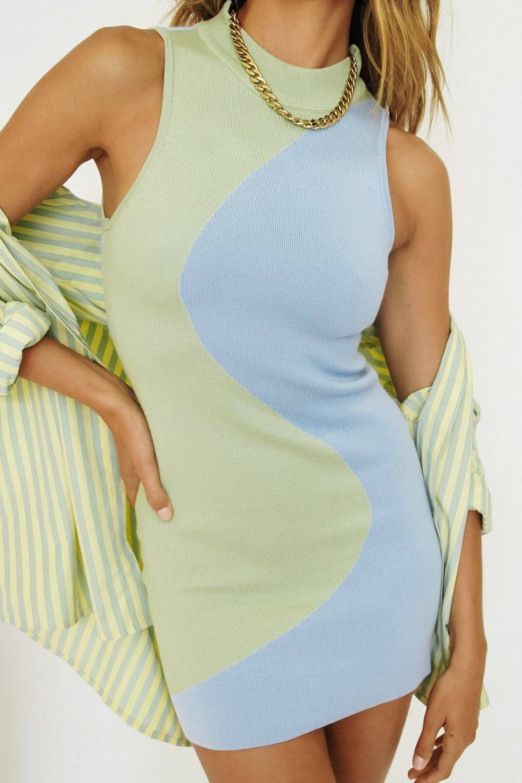 FSDA Y2K Knit Bodycon Dress Women Sleeveless 2021 Summer Beach Turtleneck Print Patchwork Sexy Party Mini Dresses 90S Holiday