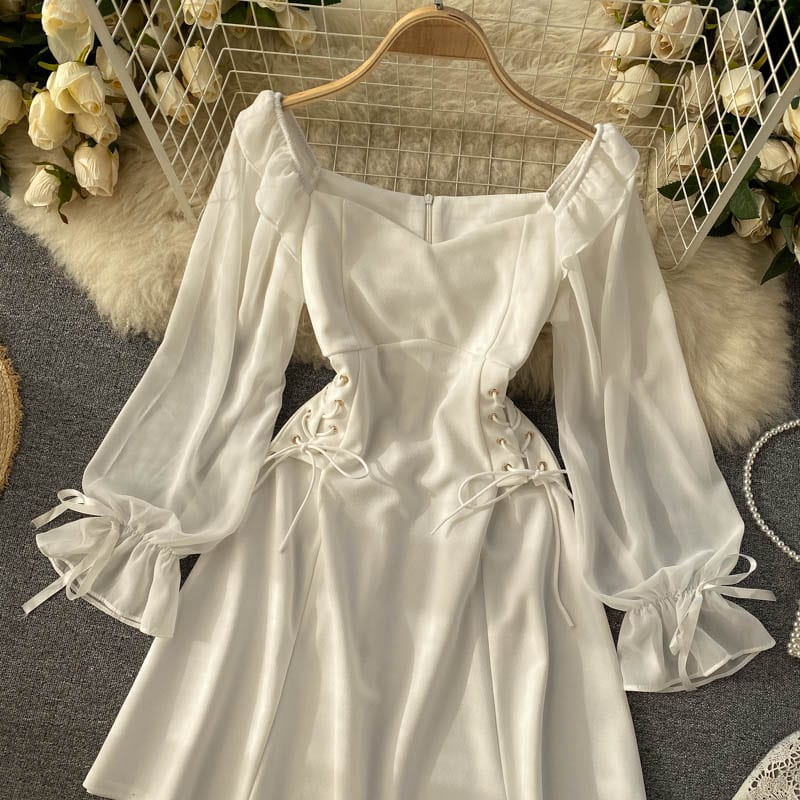Spring Vintage Dress Women A-Line Side Bandage Corset Lady's Dress Puff Sleeve Knee-Length Female Gothic Style Party Vestido