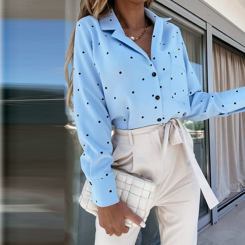 Muiches Casual Deep V-Neck Polka Dot Print Long Sleeve Blouse Woman Single Breasted Pocket Office Work Chiffon Tops 2021 New