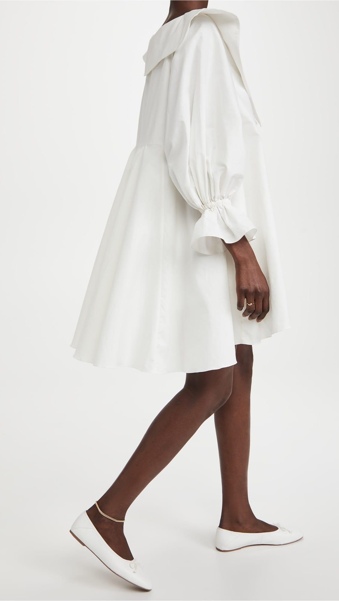 MUICHES Deep V-Neck Loose Mini Dress Woman Casual Lantern Sleeve High Waist Sweet Dress 2021 New Fashion Exaggerated Design
