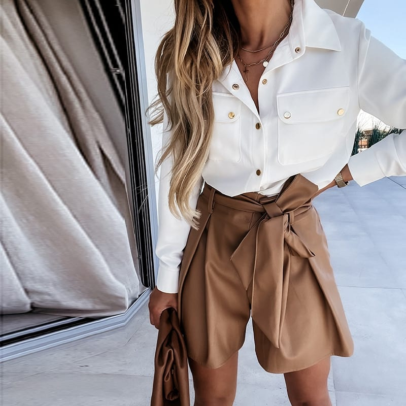 Muiches Casual High Waist Sashes PU Leather Shorts Woman Elastic Waist Solid Work Daily Basic Short Pants 2021 Summer