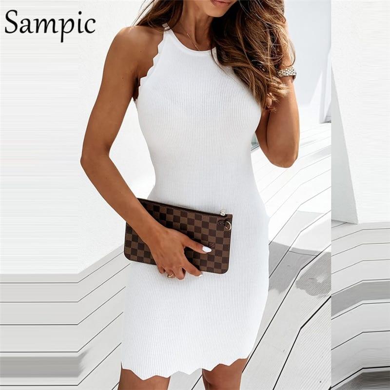 Sampci Summer Fashion Black White Khaki Women Knitted Bodycon Mini Dress Sexy Party Club Off Shoulder Wrap Dress Vintage 2020