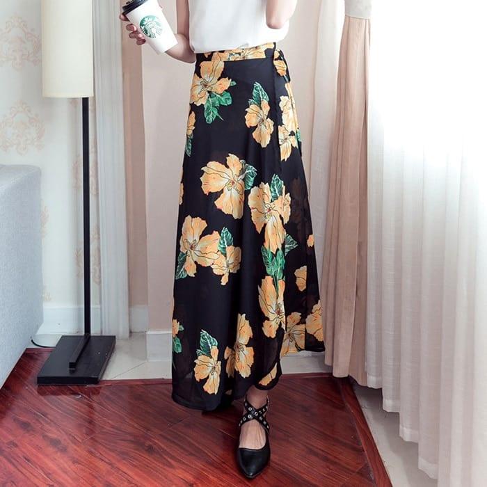 2021 Bohemian High Waist Floral Print Summer Skirts Womens Boho Asymmetrical Chiffon Skirt Maxi Long Skirts For Women