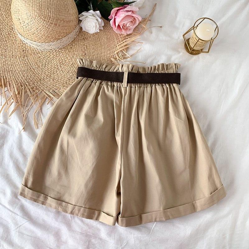 2021 Summer Elegant High Waist Shorts Women Casual Solid Wide Leg Loose Cotton Short Pants With Belt Korean Sweet Girls