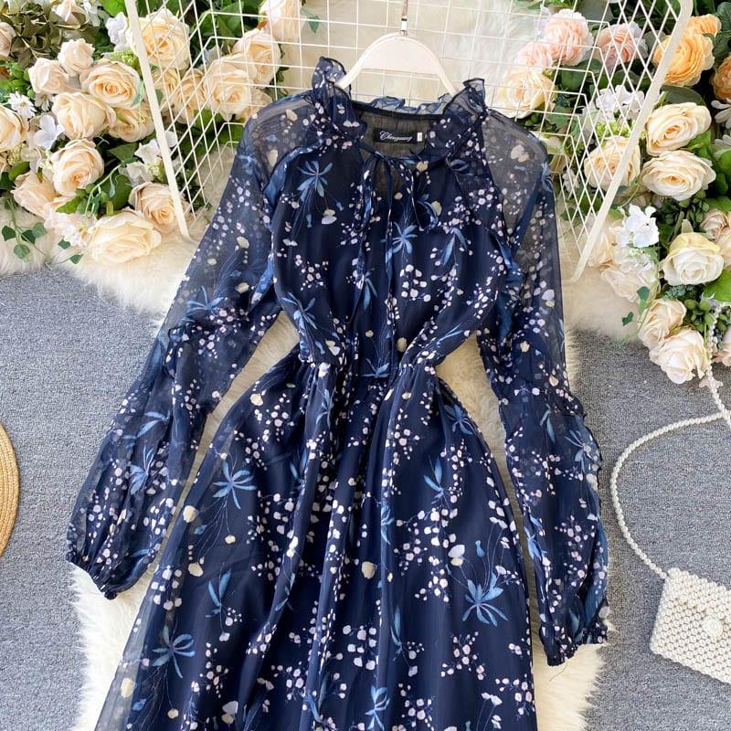 Fitaylor 2021 New Autumn Women Print Dresses Elegant Puff Sleeve Ruffles Hem Lace Up O Neck High Waist Blue Ladies Dresses