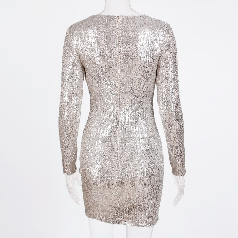 Sequined High Collar Midi Dress Elegant Long Sleeve Bodycon Tight Stretch Knee Length Party Dresses