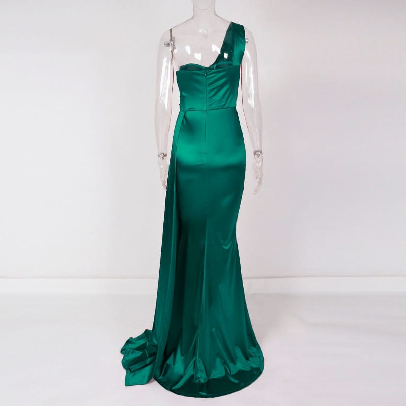 One Shoulder Padded Sexy Satin Maxi Dress Women's Evening Party Dress Gown with Ribbon Royal Blue Green Draped Long Dress