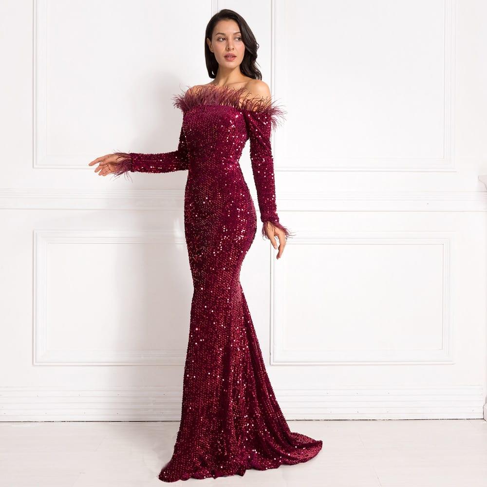 Burgundy Shiny Sequin Feather Velvet Party Dress Long Sleeve Bodycon Stretchy Slash Neck Floor Length Mermaid Dress Black Green
