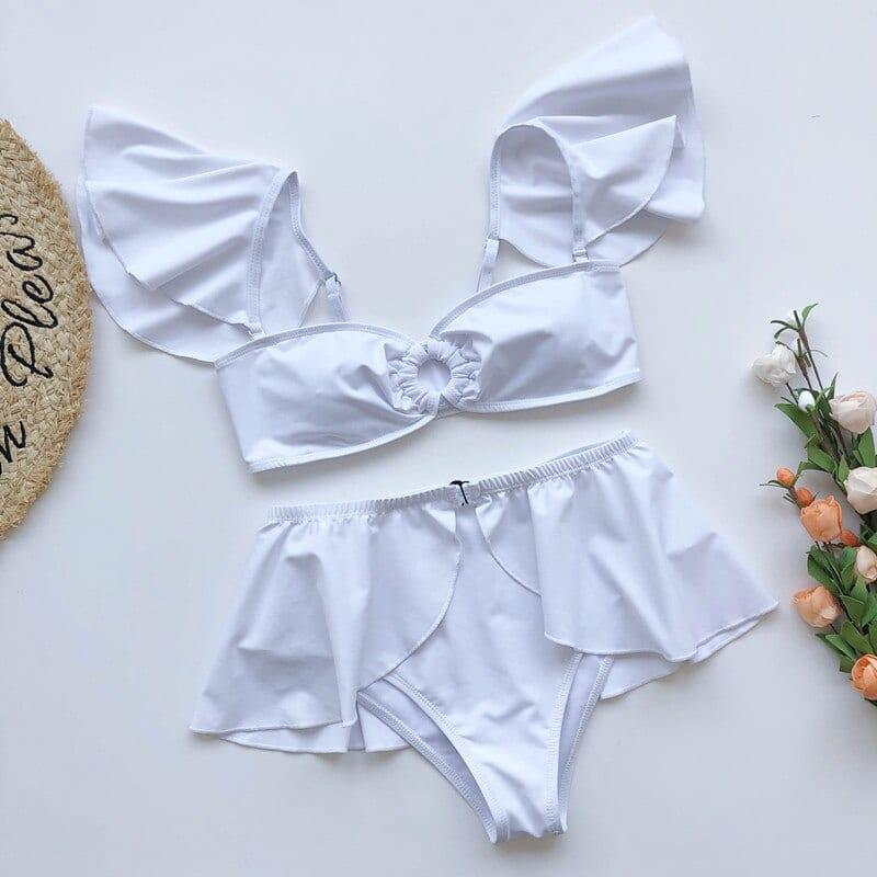 Off the Shoulder Ruffled Sexy Bkini 3 Pieces Women's Swimwear