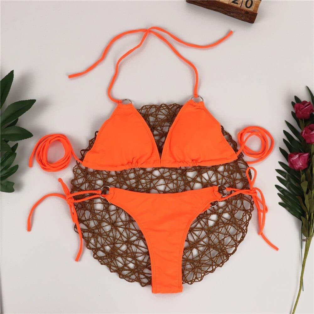 2021 Bikini for Women Solid Lace Up Sexy Swimwear Swimming Suits