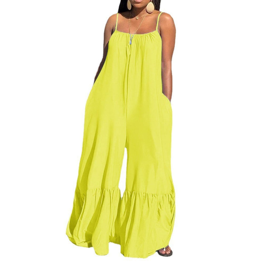 2021 New Loose Jumpsuits For Women Blue Spaghetti Strap Flare Pants Fashion High Street Wear Clothes Long Rompers & Jumpsuits