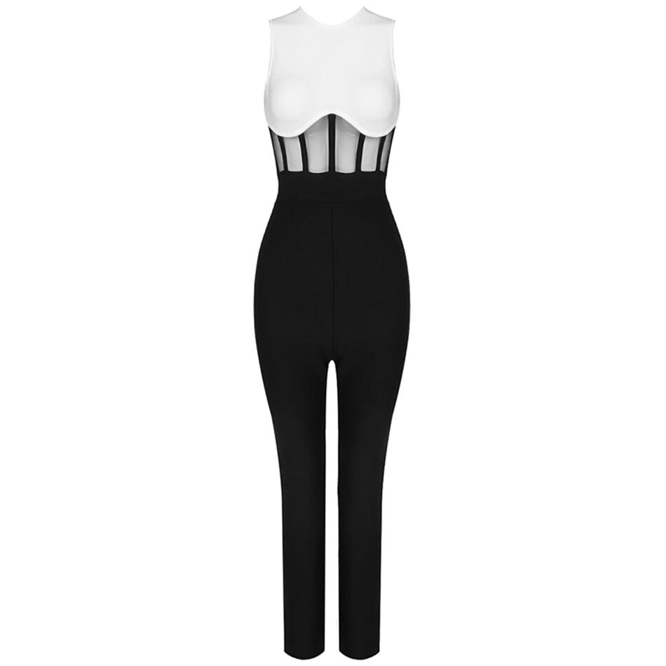 2020 Autumn New Sleeveless O-neck Mesh Patchwork Bandage Jumpsuit Bodycon Celebrity Club Party Runway Jumpsuit