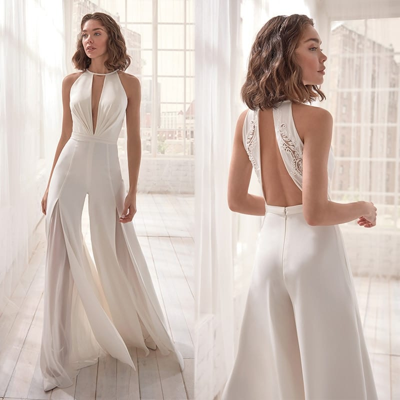 Diiwii Women Jumpsuit Deep V Neck Sleeveless Halter Rompers Backless White Elegant Sexy Female Lady Girl With