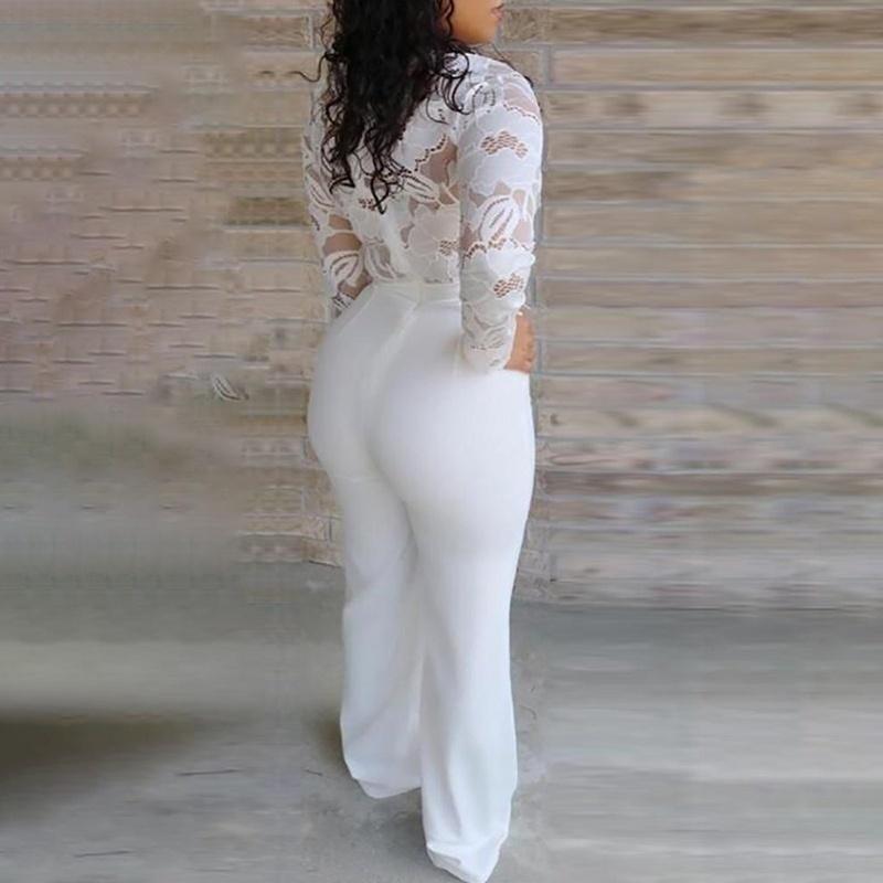 White Jumpsuit Women Lace Stitching Long Sleeve V-neck Plus Size Wide Leg Long Pants Office Lady Jumpsuits for Women Lugentolo