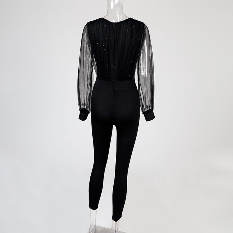 Rompers Womens Jumpsuit Black Elegant Sequins Mesh Glitter Party Night Sexy 2020 Spring Long Pants One Piece Clothes Overalls