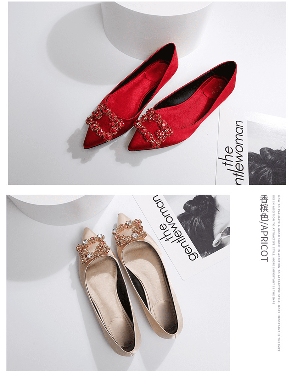 Women Flats Wedding Shoes Rhinestone Pointed Toes Cinderella Cryatal Shoes Flat Slip On Loafers Plus Party Shoes ballet luxury