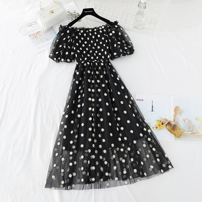 small daisies embroidery mesh dresses women 2021 sexy off the shoulder french vintage party ruffle dresses elegant vestidos