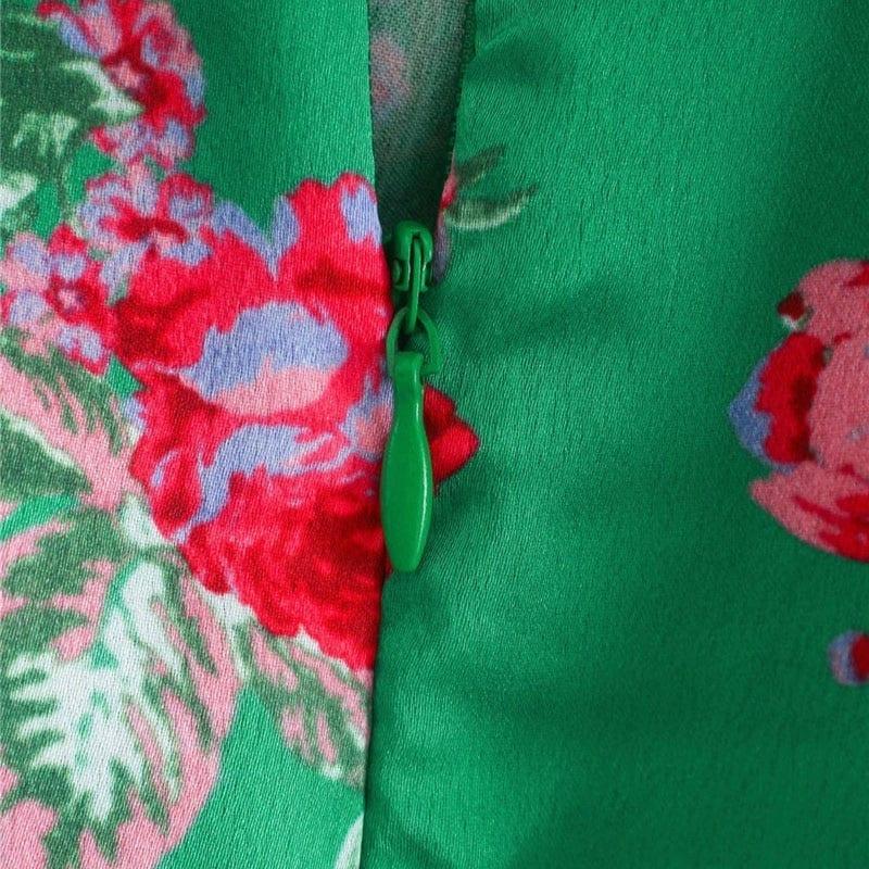 KPYTOMOA Women 2020 Fashion Floral Print Pleated Asymmetrical Midi Dress Vintage Backless Zipper Ruffled Female Dresses Mujer