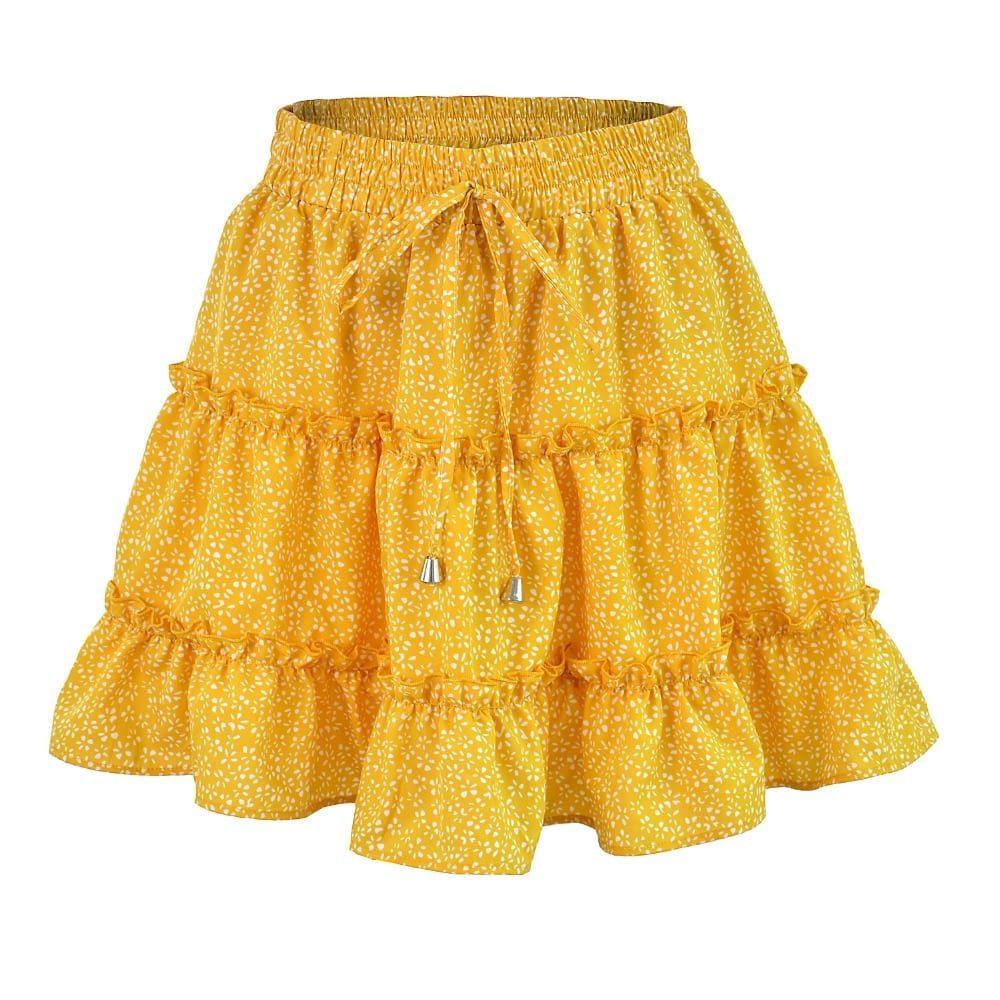 Summer Floral Print Boho Sexy Mini Skirt Women Bandage Fashion High Waist Frills Short Skirt For Women Plus Size Pleated Skirts