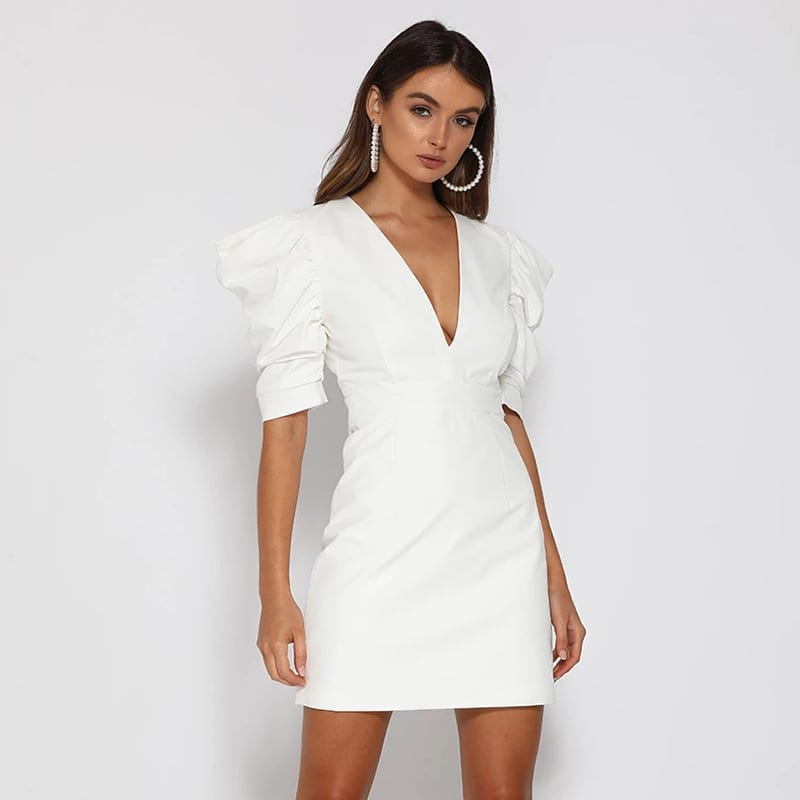 Hot sale 2020 Spring new women dress princess Puff sleeved Sexy backless V-neck buckle Fashion Solid wild straight dresses