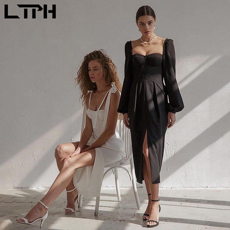 LTPH elegant slash neck party dress women sleeveless high waist Slim sexy split design Solid camisole dresses 2021 Summer New