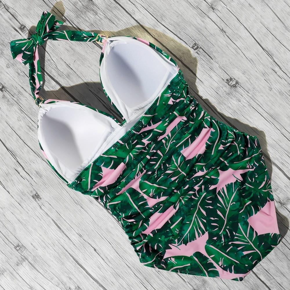 One Piece Swimsuit Women Solid Bathing Suit Halter Bodysuit Push Up Swimsuit Monokini Beachwear Plus Size Swimwear Tankini 2021