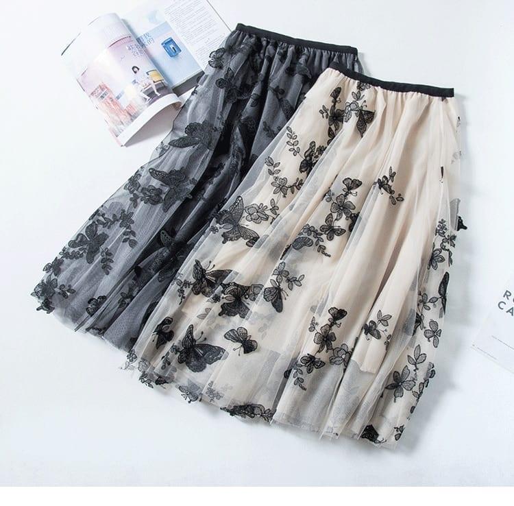 High quality Embroidery skirts womens Summer autumn 2020 vintage Ol elegant retro midi skirts women Butterfly Mesh Long Skirt
