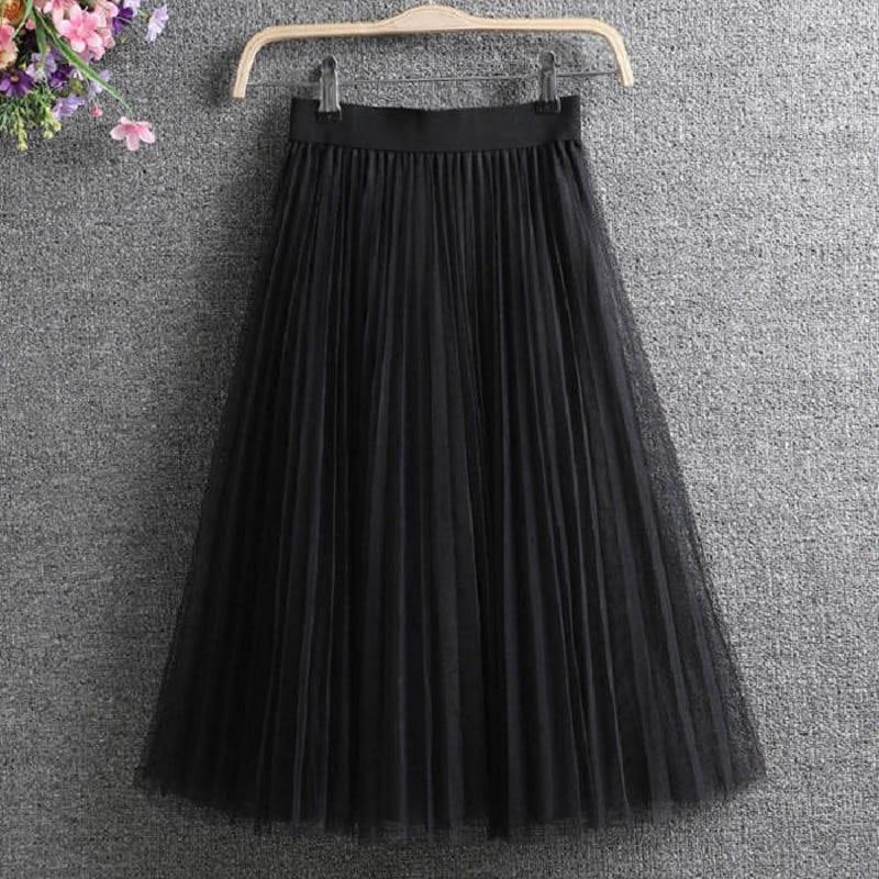 Ladies Vintage Summer Skirts Womens Casual Elastic High Waist Elegant Sexy Midi Pleated Mesh Tutu Skirt Women Tulle Skirt Female