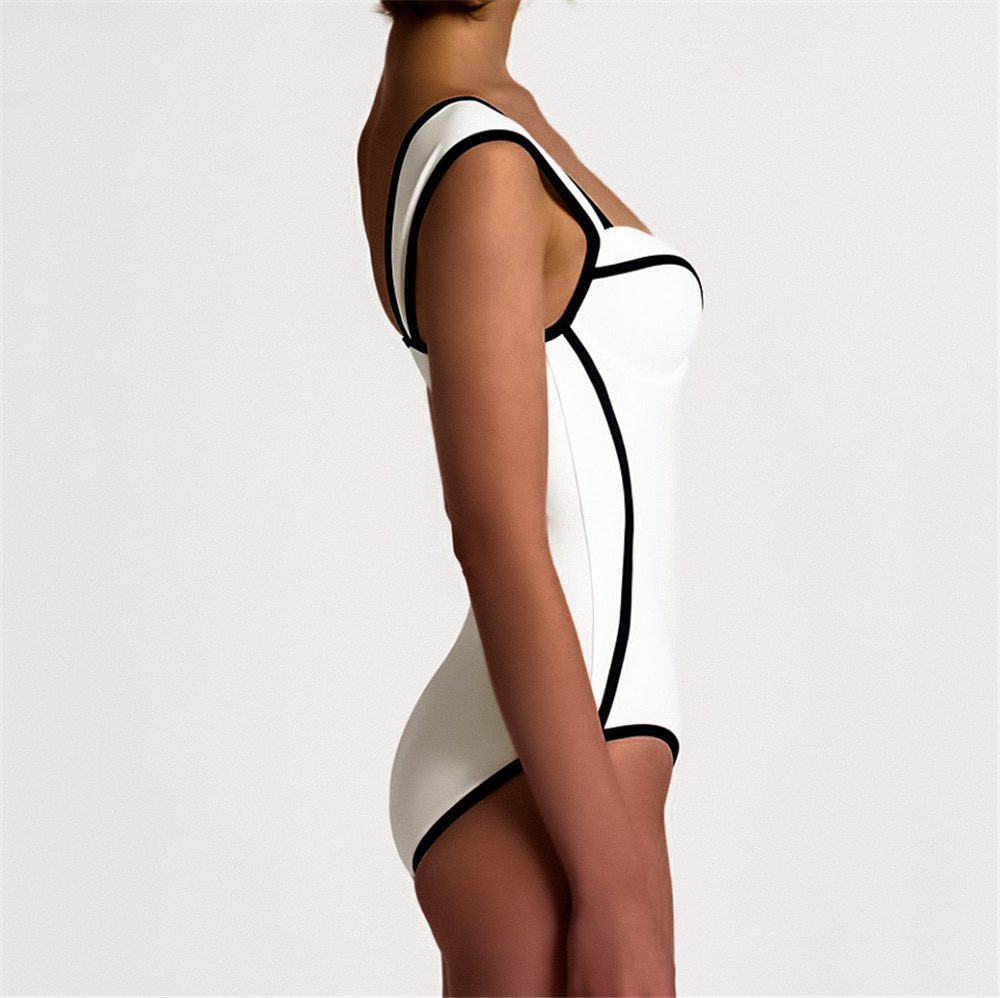 Sexy Retro Black White Striped Push Up One Piece Swimsuit Bodysuit Ladies 2021 Monokini Swimwear Women Swim Bathing Suit Trikini