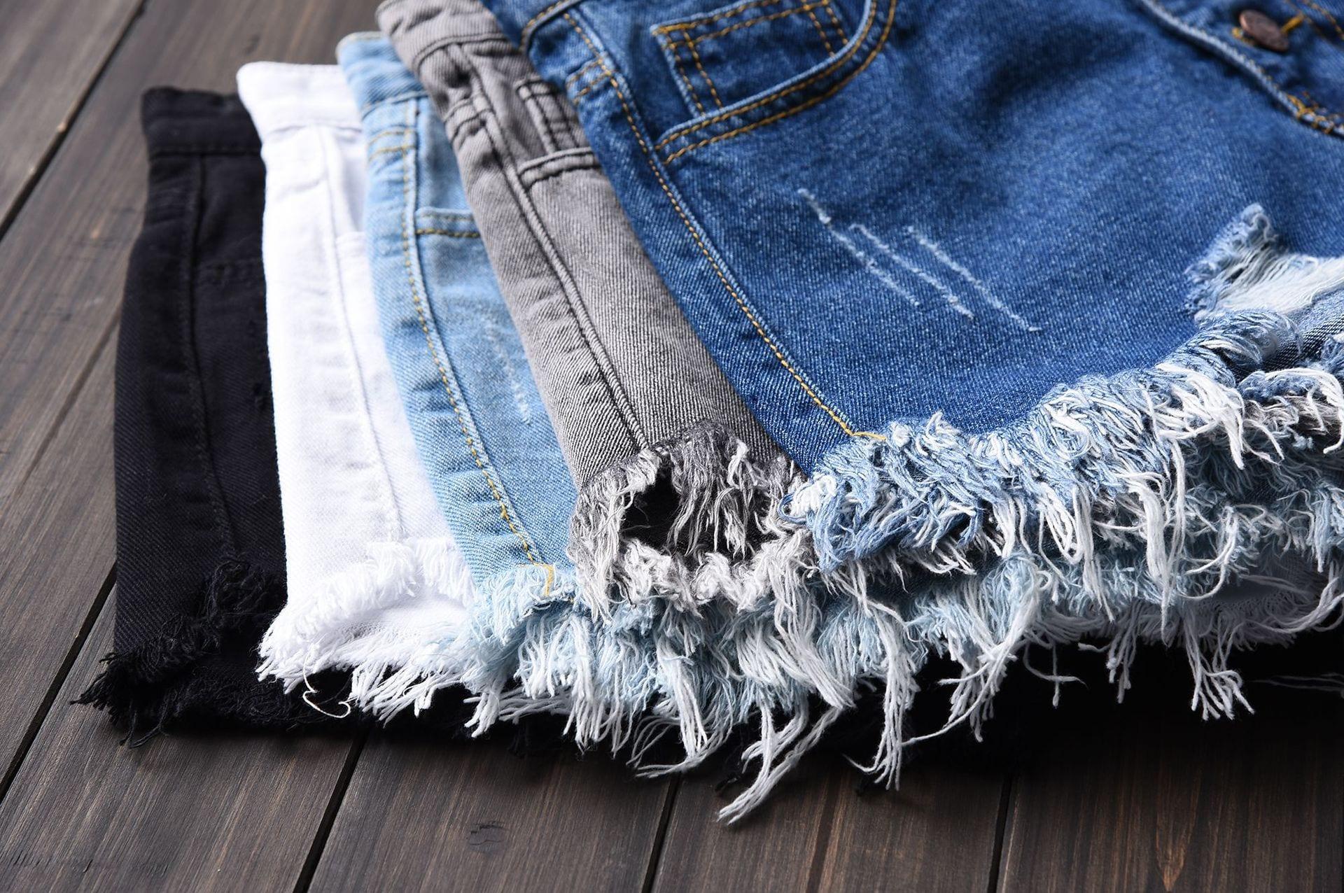 Plus Size Vintage Ripped Hole Fringe 5 Colors Denim Shorts Women Casual Korean Jeans Shorts 2020 Summer Girl Hot Shorts