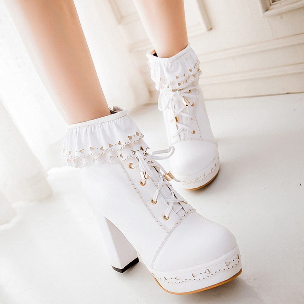 SARAIRIS Ladies Ankle Boots Women Shoes Sweet Lace Lolita Lovely Cosplay Platform Ladies High Heels Boots Woman Plus Size 48