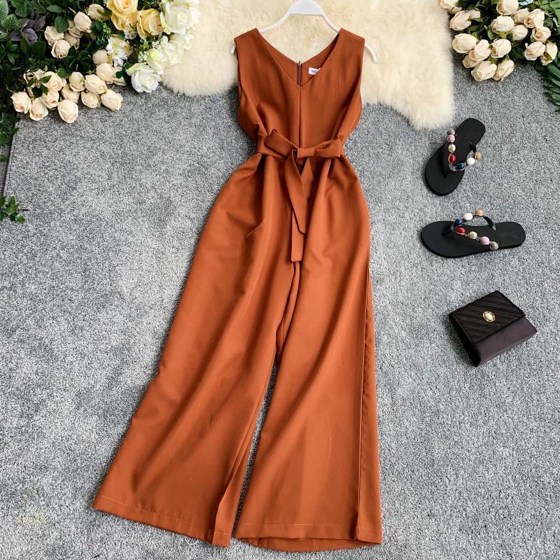 Summer Women's Jumpsuit Pure Color V-neck Wide Leg Pants Beach Resort Style Sleeveless Waist Belted Vest Jumpsuit LL014