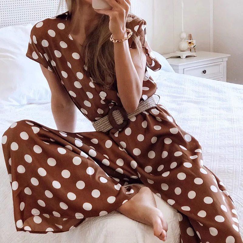 Elegant women polka dots looses jumpsuits with belt 2020 summer fashion ladies vintage boho rompers female chic jumpsuit girls