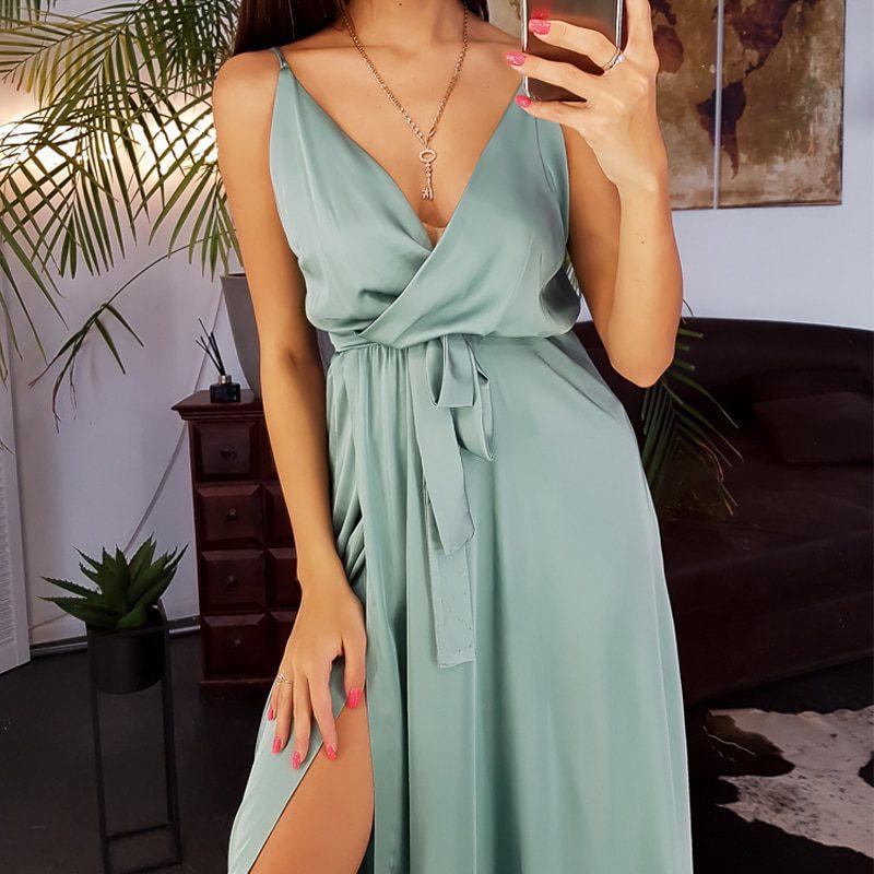Women Spaghetti Strap Sashes Midi Dresses Sexy Deep V-neck Sleeveless Party Dress New Fashion Vintage Solid Color Elegant Dress