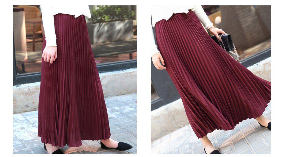 Womens Vintage Pleated Midi Long Skirt Female Korean Casual High Waist Chiffon Skirts Jupe Faldas 18 Colors 2019 Autumn SK397