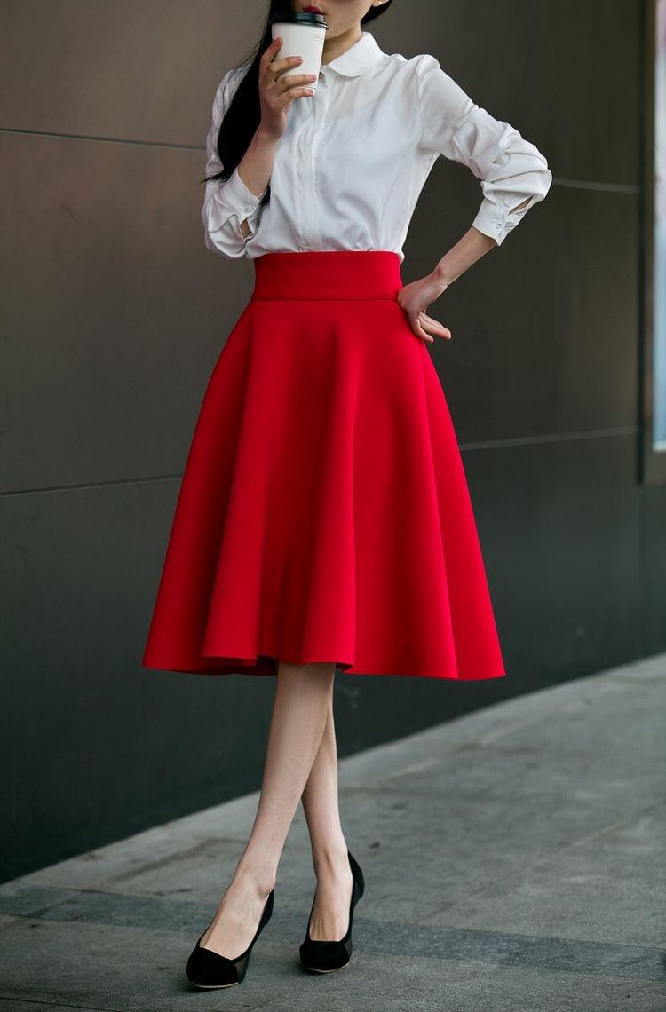 5XL Plus Size Skirt High Waisted Skirts Womens White Knee Length Bottoms Pleated Skirt Saia Midi Pink Black Red Blue 2019